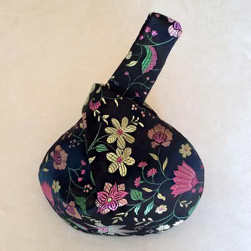 Black Flowers Oriental Wristlet