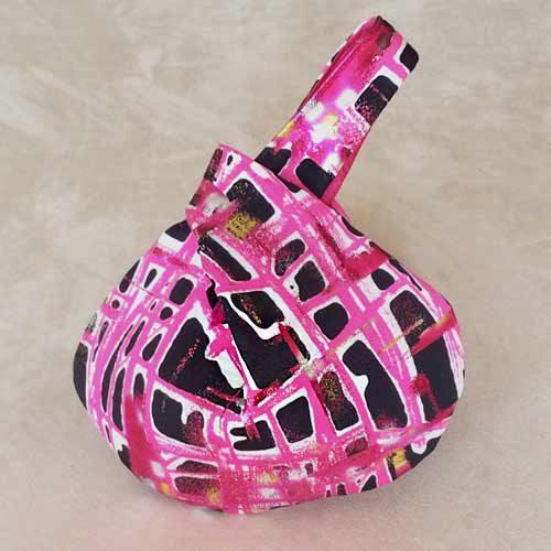 Metallic Pink Black Retro Wristlet